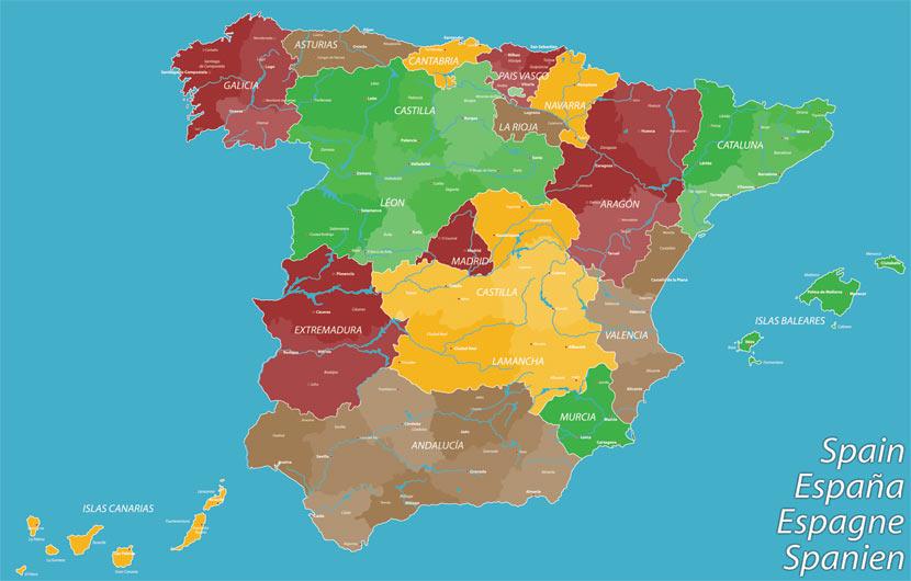 et landkort af spanien oppefra hvor spaniens regioner har forskellige farver. desuden kan man se de største byer i hver region.